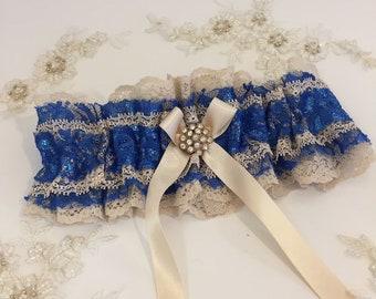 Nude Champagne Beaded Lace Ruffled Elastic Garter Vintage Style Wedding Garter Wedding Garter Belt