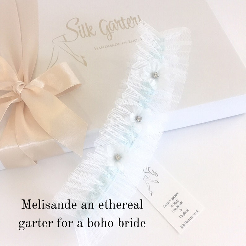 Melisande Boho Wedding Garter with a Blue Band Crystal image 0