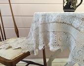 Vintage Lace Tablecloth, Vintage Table Linens, Crochet Lace Tablecloth, Beige Lace Tablecloth, Afternoon Tea, Gypsy Caravan,