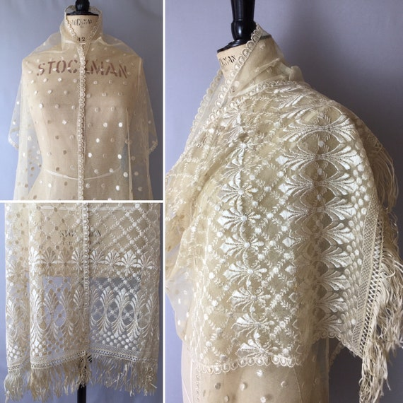 Antique Embroidered Lace Shawl, Fringed Shawl, Sil
