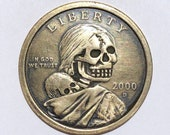 Rare 2000 D Real Hand Carved Sacagawea Dollar Skull Hobo Nickel Coin Art Engraving - Item HN19075