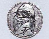 Rare 1998 D Real Hand Carved Badass Bandit Jefferson Cowboy Hobo Nickel Coin Art Engraving - Item HN19074