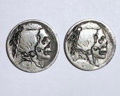 Rare 2pc Lot Real Hand Carved Buffalo Hobo Nickel Skull Coin Set - Unsigned Engraving Art - Item HN19064