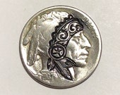 Rare 1937 Real Hand Carved Buffalo Hobo Nickel Coin - Native American Headband Art - Perfect for Jewelry or Novelty - Item HN18026