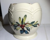 Vintage 3.25 1995 Lenox Collectible Porcelain Christmas Candleholder Winter Greetings by Catherine McClung - USA - Item VC19012