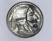 Rare 1937 Real Hand Carved Buffalo Hobo Nickel Coin - V for Vendetta Anonymous Mask Art - Item HN19076