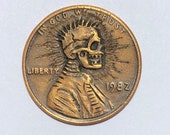 Rare 1982 Real Hand Carved Lincoln Sunburst Skull Cent Hobo Nickel Coin Art Engraving - Item HN19071