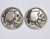 Rare 2pc Lot Real Hand Carved Buffalo Hobo Nickel Skull Coin Set - Unsigned Engraving Art - Item HN19065