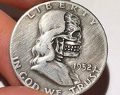 Rare 1952 Real Silver Hand Carved Benjamin Franklin Half Dollar Skull Hobo Nickel Coin Art - Perfect for Jewelry or Novelty - Item HN18027