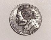 Rare 2002 Real Hand Carved Jefferson Hobo Nickel Mark Twain Coin Engraving Carving - Art - Perfect for Jewelry or Novelty - Item HN18022