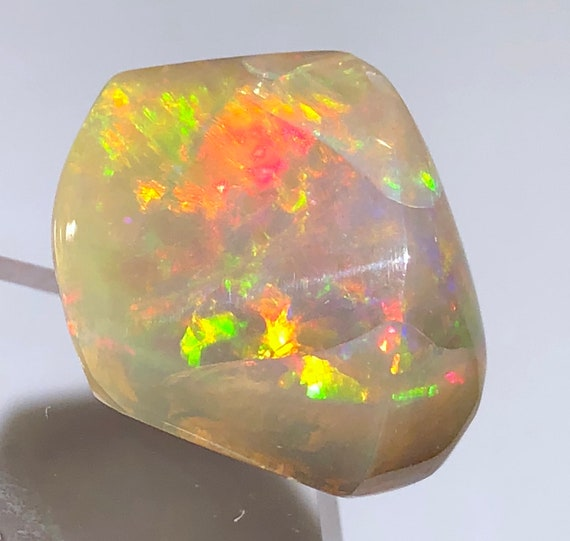 Mexico Item:O18724 Top Quality 6.9ct Polished Fire Opal Crystal Cabochon Perfect for Jewelry