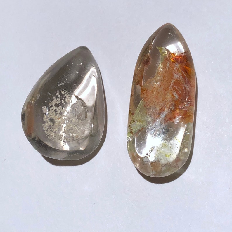 Item:Q19873 Brazil 2pc Lot Unique 10g Freeform Polished Chlorite Quartz Lodolite Crystal Orb Set