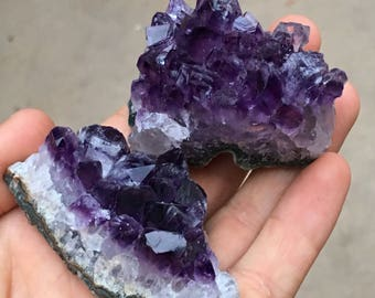 2pc Top Quality 185g Amethyst Crystal Cluster Set - Minas Gerais, Brazil - Item:AM170897