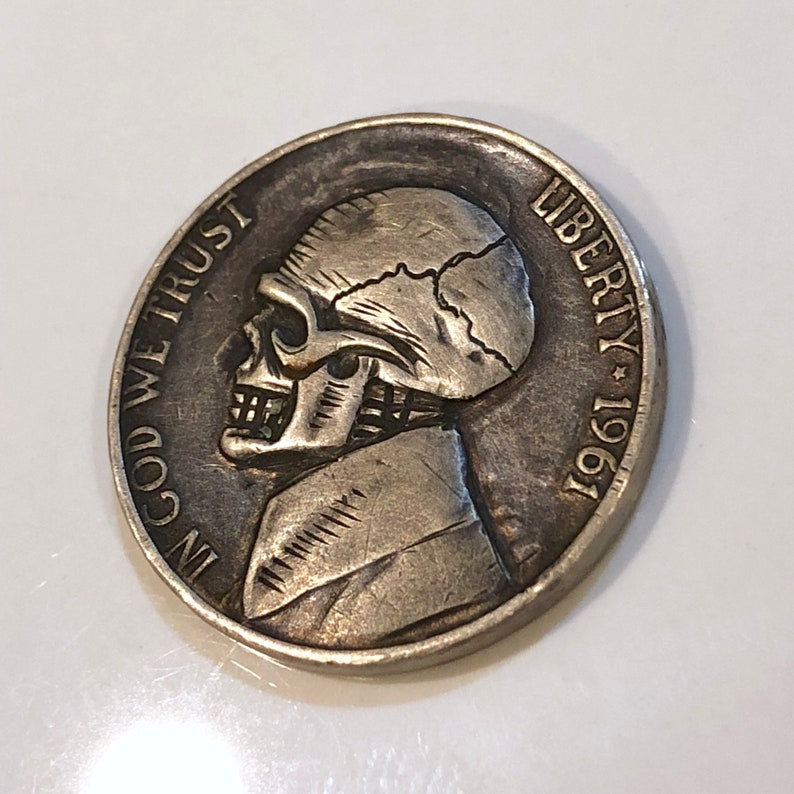 Rare 1961 Real Hand Carved Jefferson Hobo Nickel Skull Coin Engraving /  Carving - Art - Perfect for Jewelry or Novelty - Item:HN18012