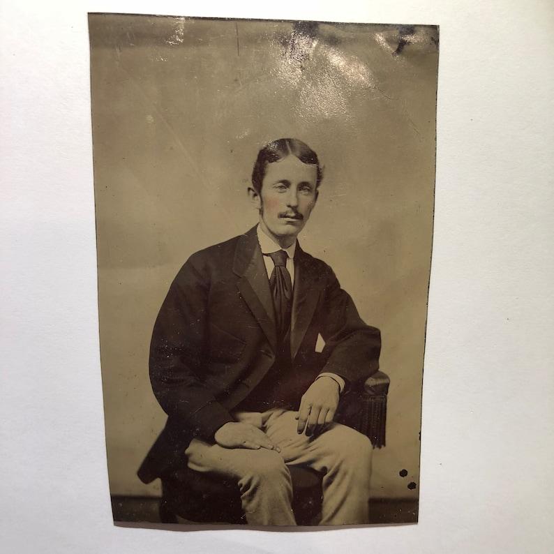 57b939c040d0f Handsome Gentleman w/ Mustache Tintype Photo Original | Etsy