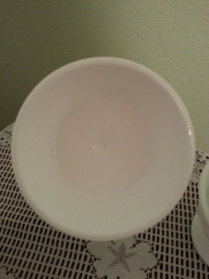 in grape pattern. milk glass sherbet dishes set of 3 Indiana glass