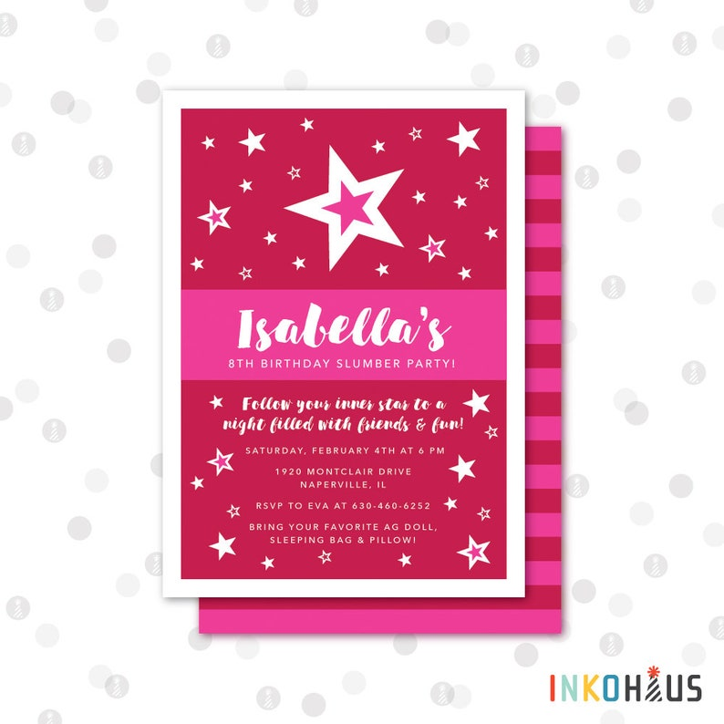 picture regarding American Girl Printable referred to as Tailor made - 5x7 Invitation - American Doll Printable Celebration Variety by means of InkoHaus