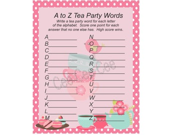 photograph about Free Printable Tea Party Games identify Tea bash match Etsy