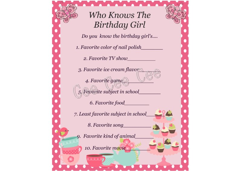 picture about Printable Party Games known as Tea Bash Video game, Tea Occasion Printable Sport, Tea Social gathering Birthday, Tea Celebration Themed Birthday, Prompt Down load Match, Who Appreciates the Birthday Lady