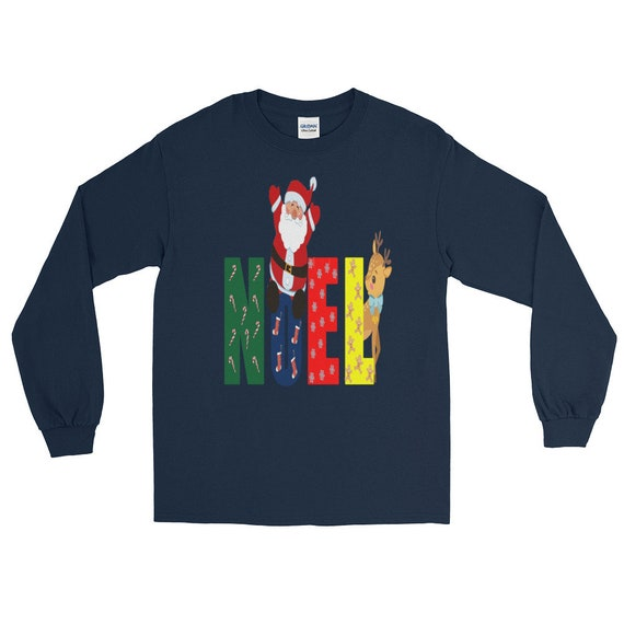 Noel père Noël vacances Rennes de Noël cadeau de la famille famille la à manches longues T-Shirt 55d341