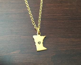 Minnesota Necklace, Minnesota, gold Minnesota necklace, Minnesota jewelry, state necklace, state jewelry, necklace, gold necklace