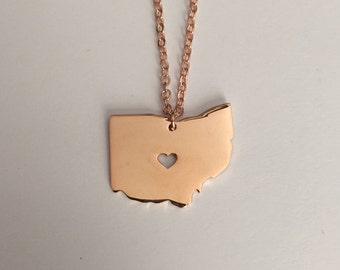 Ohio Necklace, Ohio, rose gold Ohio necklace, Ohio state necklace, Ohio jewelry, Ohio state jewelry, state necklace, rose gold necklace