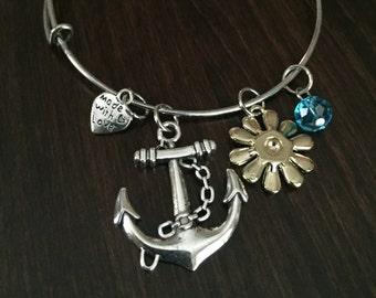Anchor Bracelet, Anchor Bangle, Anchor Braclet, Anchor, Bracelets, Bangle, Bangles, Bangle Bracelet, Adjustable Bracelet, Adjustable Bangle