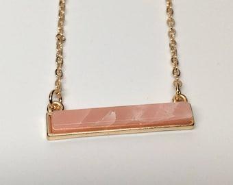bar necklace, pink bar necklace, pink bar pendant, bar pendant, natural stone necklace, natural stone, natural stone jewelry, gold necklace