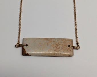 bar necklace, brown bar necklace, brown bar pendant, bar pendant, natural stone necklace, natural stone, natural stone jewelry, necklace