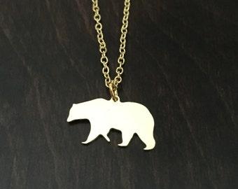bear necklace, bear jewelry, bear pendant, bears necklace, bear, bears, gold bear, gold bear necklace, gold bear jewelry, gold necklace