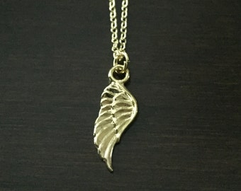 angel wing necklace, gold angel wing necklace, wing necklace, feather necklace, angel wing jewelry, wing jewelry, feather jewelry, wings