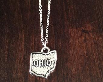 Ohio Necklace, Ohio, silver Ohio necklace, Ohio state necklace, Ohio jewelry, Ohio state jewelry, Ohio pendant, state necklace, necklace
