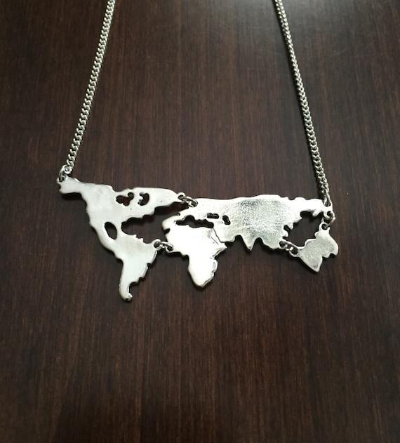 World map necklace world necklace world jewelry world map etsy gumiabroncs Choice Image