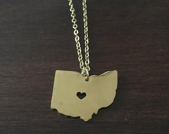 Ohio Necklace, Ohio, gold Ohio necklace, Ohio state necklace, Ohio jewelry, Ohio state jewelry, state necklace, state jewelry, necklace