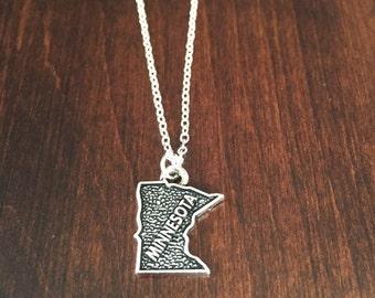 Minnesota Necklace, Minnesota, Minnesota jewelry, Minnesota pendant, silver Minnesota necklace, state necklace, state, silver necklace