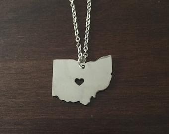 Ohio Necklace, Ohio, silver Ohio necklace, Ohio state necklace, Ohio jewelry, Ohio state jewelry, state necklace, state, necklace