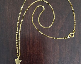 Minnesota Necklace, Minnesota, gold Minnesota necklace, Minnesota jewelry, Minnesota pendant, state necklace, state jewelr, gold necklace