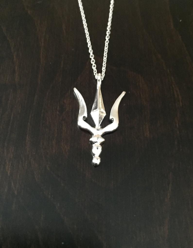 15285da11d Trident trident necklace trident pendant silver trident | Etsy