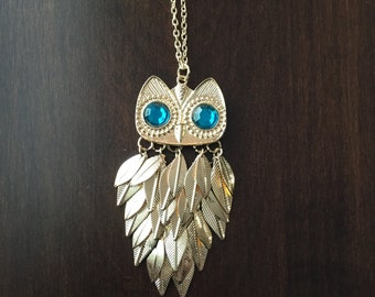 gold owl necklace, turquoise owl necklace, gold owl, turquoise owl, owl necklace, gold necklace, necklace, owl jewelry