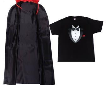 26299115 Vampire Dracula T-Shirt Cape Fancy Dress Men Boys Halloween Party Book Week  Stag