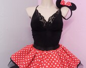 Ladies Minnie Mouse Tutu Skirt Red White Polka Dots 80 Fancy Dress Hen Party Girls Book Week