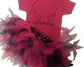 Halloween Little Devil Baby Grow Tutu Skirt Headband Fancy Dress Set Cake Smash Party Wear