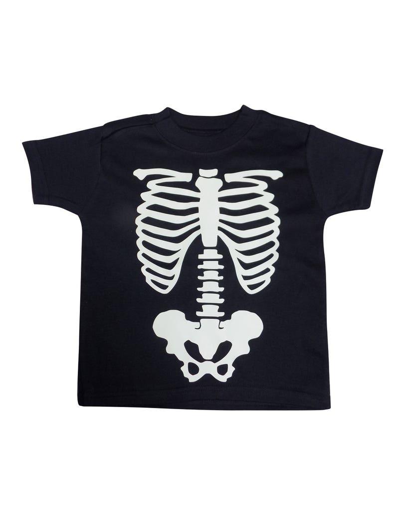 Halloween Ribs Glow In The Dark T Shirt Tutu Baby Grow Fancy Dress Spooky Bones