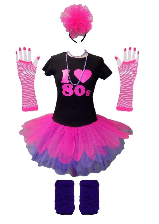 NEON Tutu Giallo Verde Rosa 6 strati gonna Scaldamuscoli Guanti ANNI/'80 Costume Set