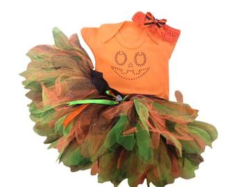 Halloween Orange Pumpkin Jack O Lantern Tutu Costume Baby Grow T-Shirt Fancy Dress Cake Smash