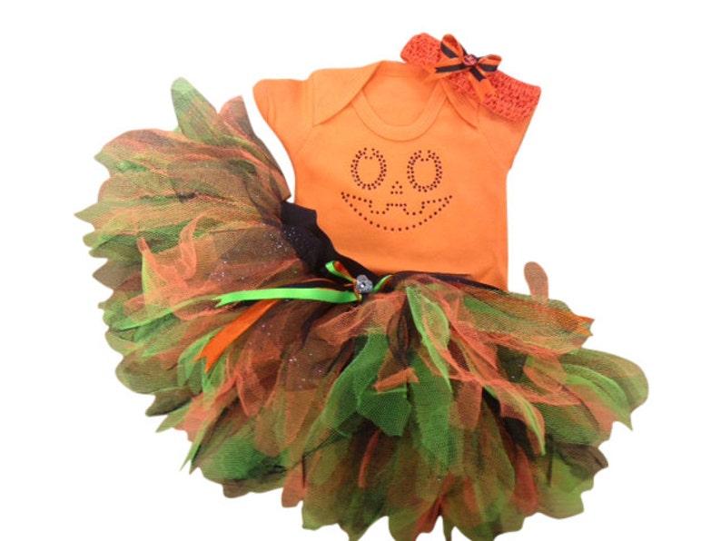 9c2234120 Halloween Orange Pumpkin Jack O Lantern Tutu Costume Baby Grow
