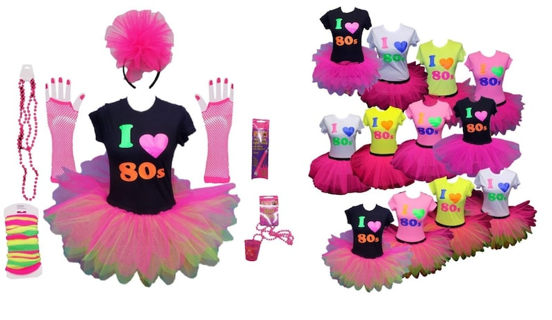5992733082 Neon Pink Tutu Skirt 80's Fancy Dress I Love T-Shirt Set | Etsy