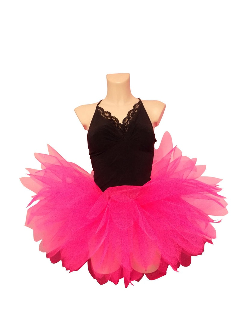 658346ef9b Neon Pink Tutu Skirt 8 Petal Shaped Layers 80s Fancy Dress Hen | Etsy