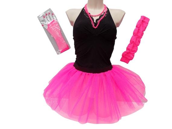 Ladies Pink Dance Wear TuTu Skirt Leg Warmer Gloves Necklace Do Stag Hen Night