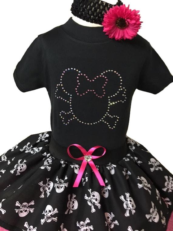 TODDLER TUTU PIRATE SKIRT MINNIE SKULL HALLOWEEN PARTY BABY GROW FANCY DRESS TOP